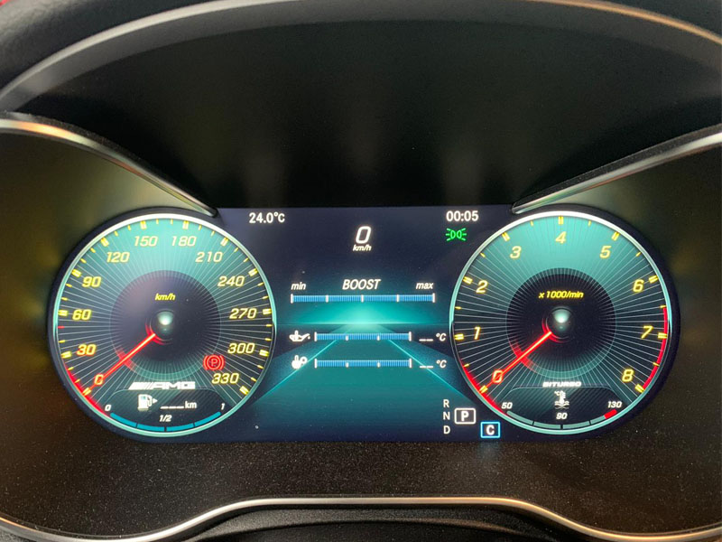 AMG speedometer extension update up to 330 kph